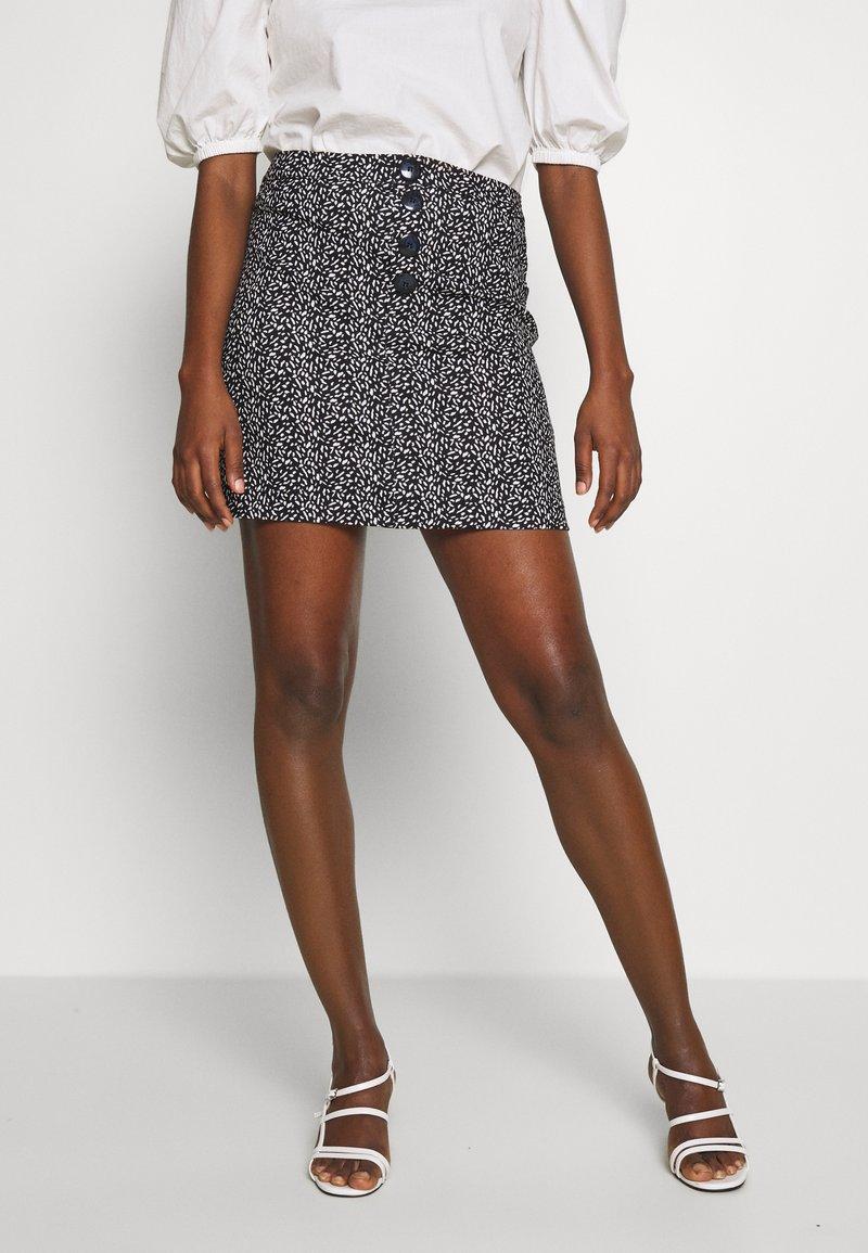Dorothy Perkins - PRINT MINI - A-line skirt - black