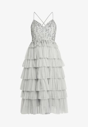 PLUNGE FRONT EMBELLISHED MIDI DRESS WITH MULTI TIERED SKIRT - Cocktailkjole - soft grey