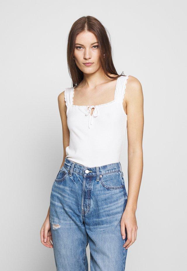 TIE FRONT VEST - Top - white