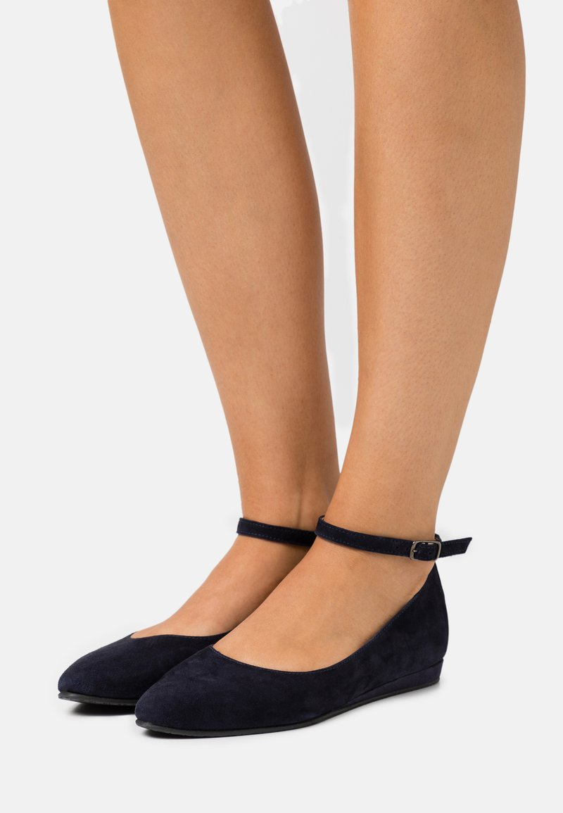 Tamaris - Ankle strap ballet pumps - navy