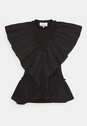 BUTTERFLY RUFFLE SLEEVE TANK - Print T-shirt - black