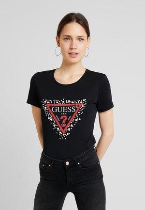 PEARLS TEE - T-shirt z nadrukiem - jet black