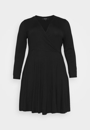 WRAP SKATER DRESS - Jerseykjoler - black