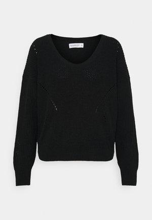 CHENILLE STITCHY - Sweter - black