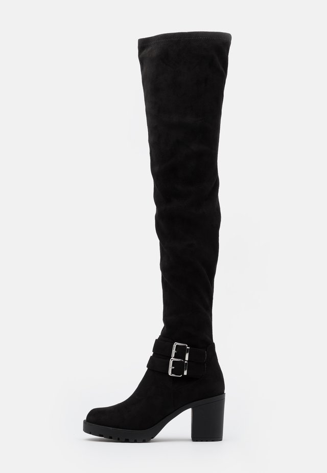 ONLBARBARA LIFE BUCKLED  - Over-the-knee boots - black