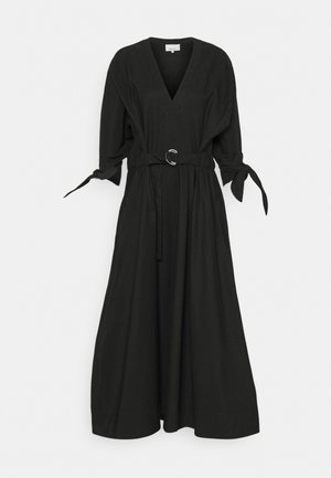 WAISTED TIE LONG DRESS - Maxi dress - black