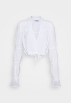 PAMELA REIF X NA-KD TIE DETAIL PUFFY SLEEVE - Bluser - white