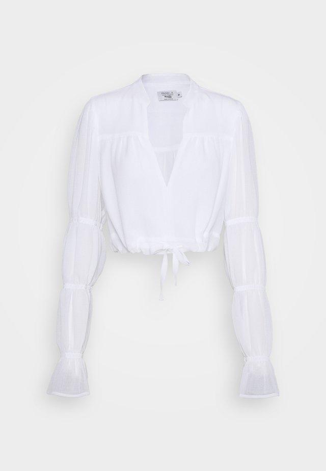PAMELA REIF X NA-KD TIE DETAIL PUFFY SLEEVE - Bluzka - white