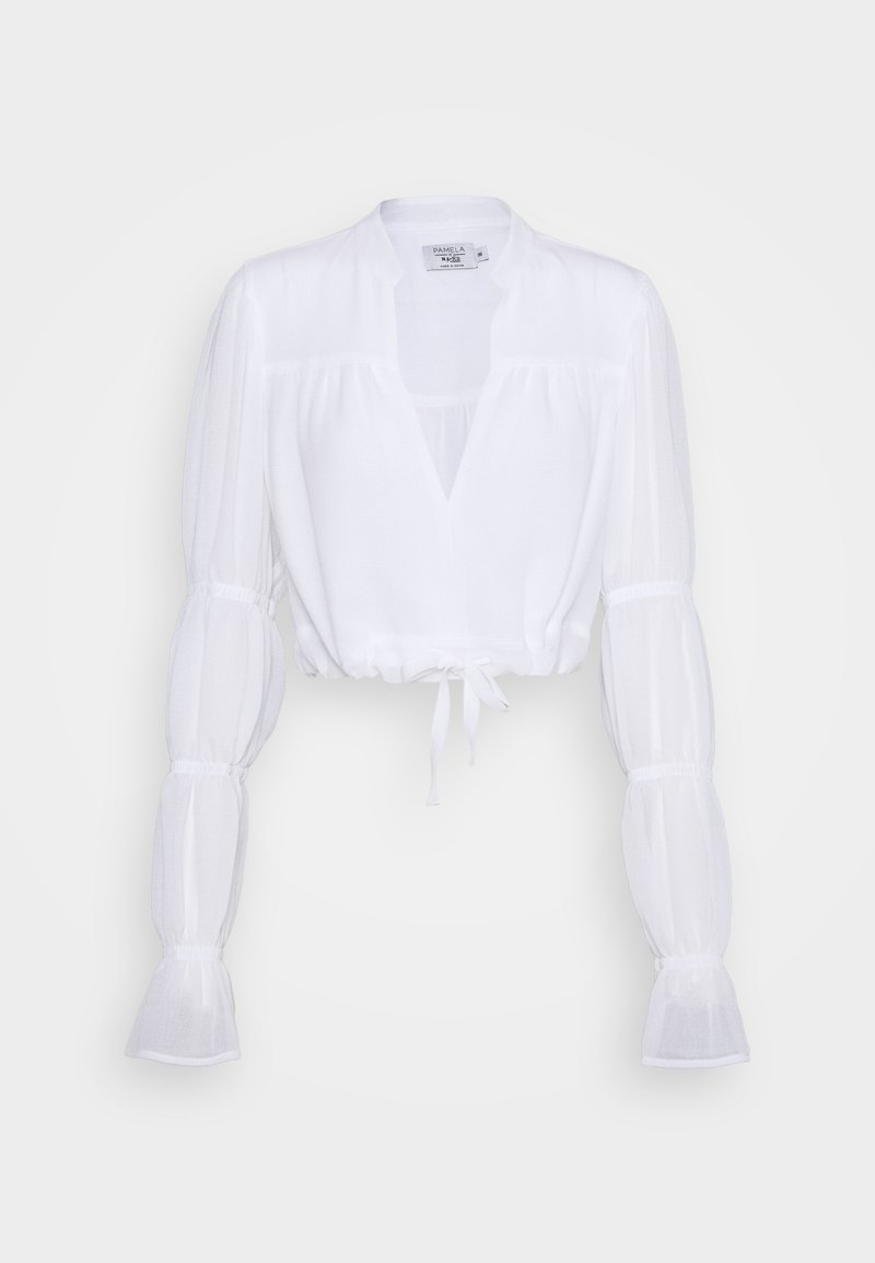 NA-KD - PAMELA REIF X NA-KD TIE DETAIL PUFFY SLEEVE - Bluser - white