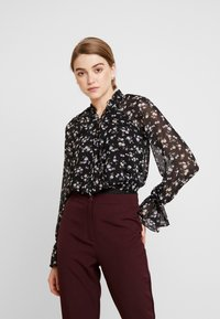 Missguided - DITSY FLORAL PLUNGE TIE BODYSUIT - Blouse - brown - 0