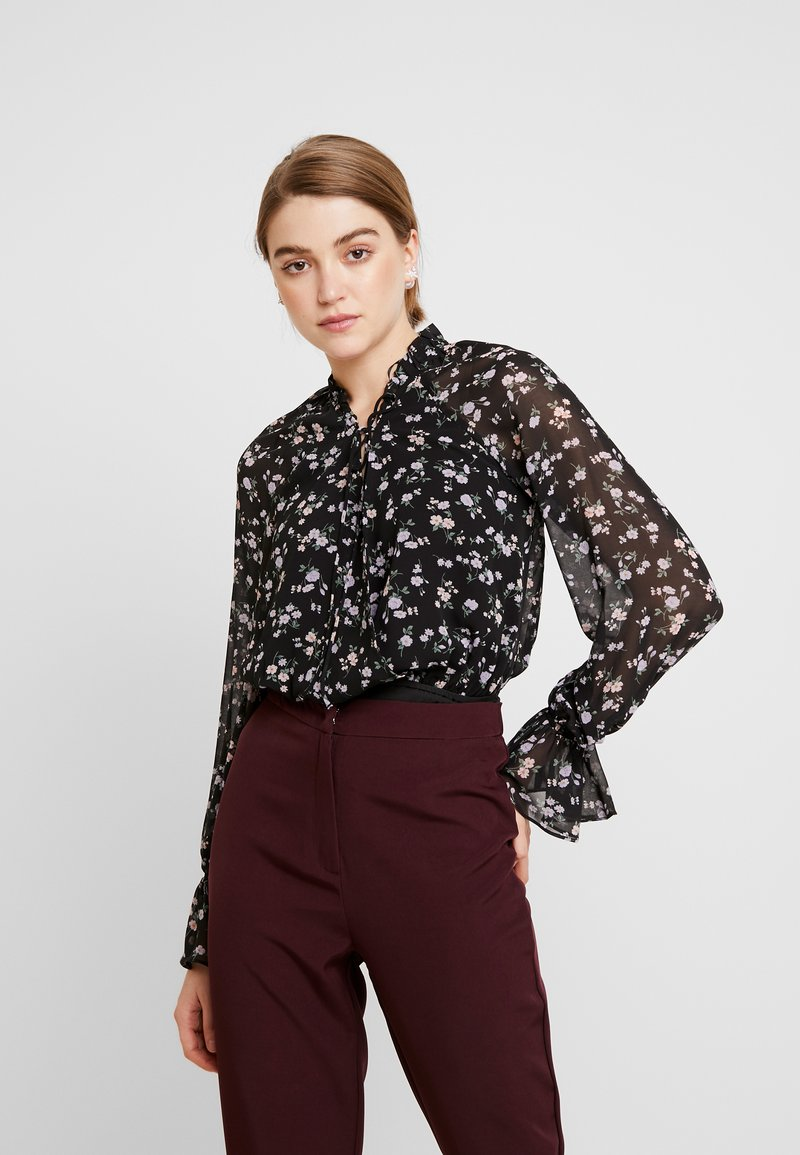 Missguided - DITSY FLORAL PLUNGE TIE BODYSUIT - Blouse - brown
