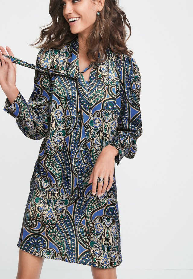 PAISLEY PRINT TIE NECK  - Day dress - dark blue
