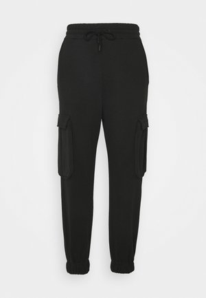 HIGH WAIST CARGO - Tracksuit bottoms - black