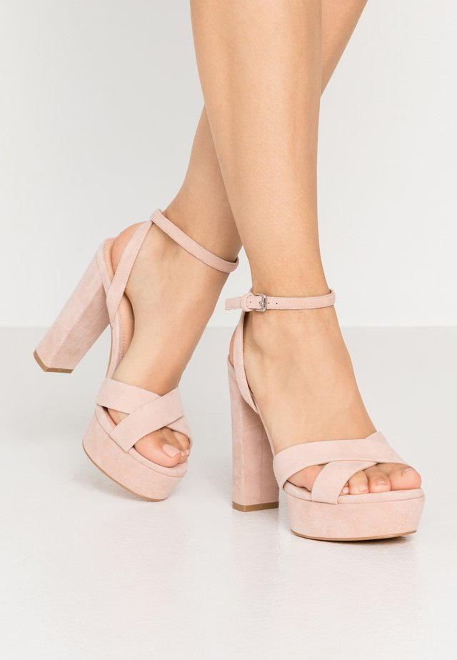 LEATHER - High heeled sandals - nude
