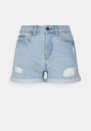 NMSMILEY DEST SHORTS - Shorts vaqueros - light blue denim