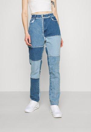 FRAY HEM PATCHED - Jeans straight leg - blue