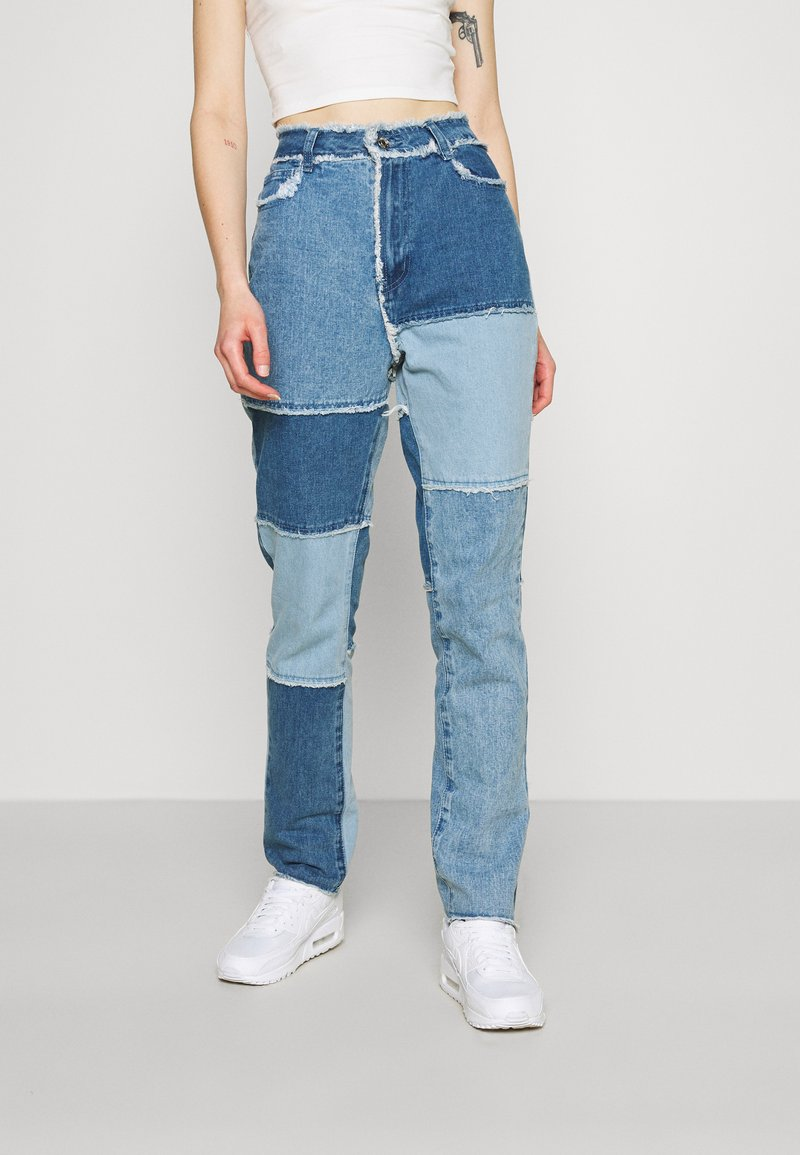 Missguided - FRAY HEM PATCHED - Straight leg jeans - blue