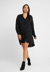 CAPSULE by Simply Be - SPORTY TRIM SWING DRESS - Shirt dress - black - 2