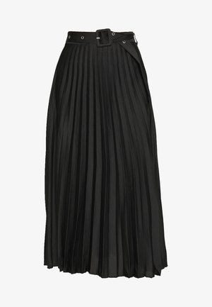 COVERED BUCKLE PLEAT MIDI - A-line skirt - black