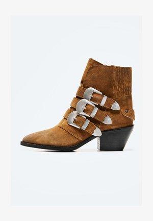 Kovbojské/motorkářské boty - camel