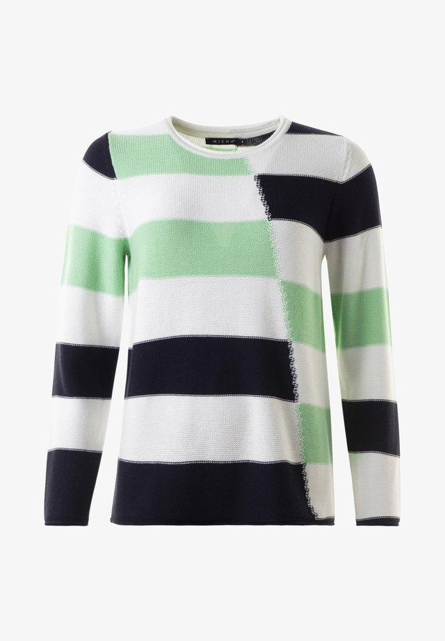 Stickad tröja -  offwhite/green
