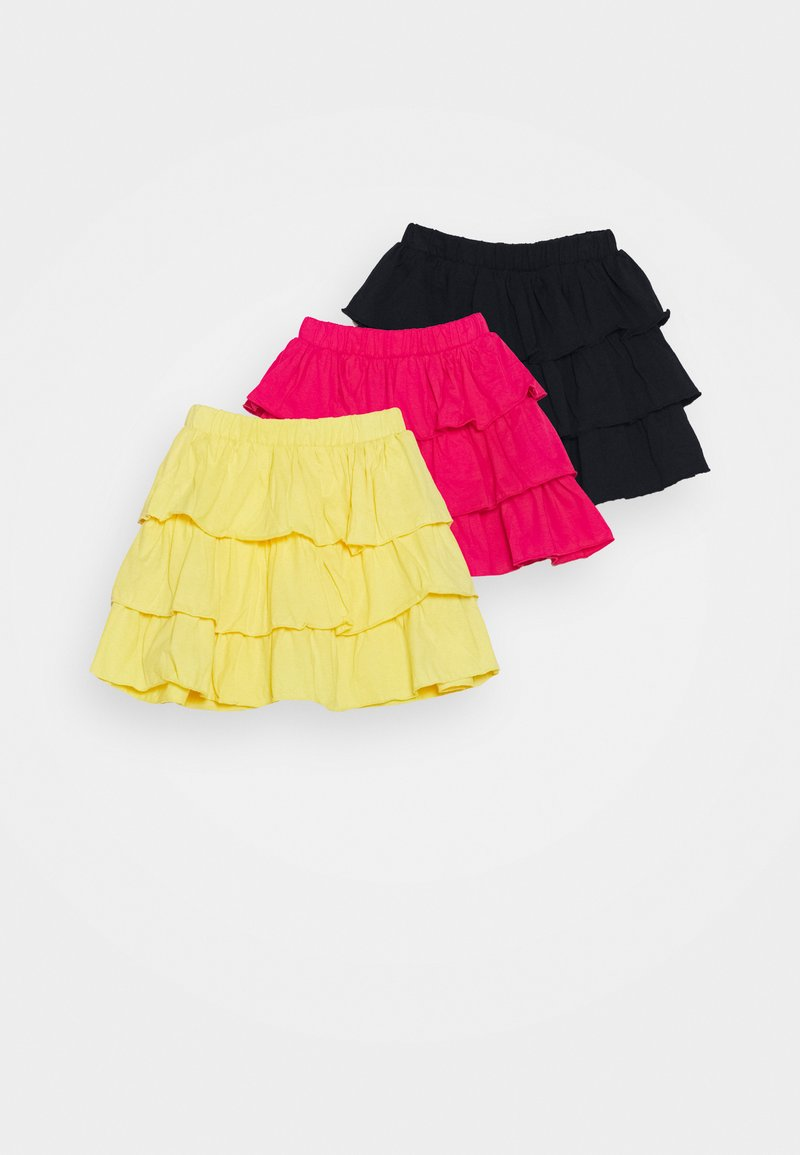Blue Seven - SMALL GIRLS 3 PACK - Mini skirt - stroh/pink/nachtblau