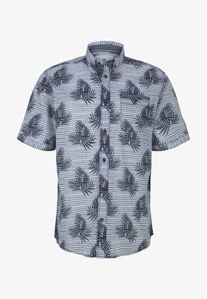 Shirt - white navy leaf stripe design