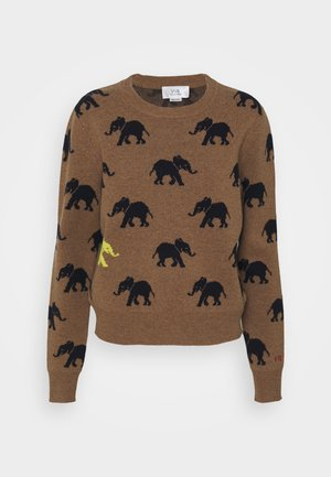 ELEPHANT INTARSIA MERINO CREW NECK JUMPER - Pullover - mocha