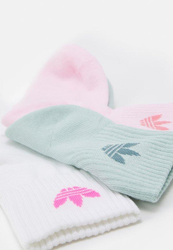 adidas Originals MID ANKLE UNISEX 3 PACK - Skarpety - white/clear pink/hazy green/wielokolorowy Odzież Męska JYOZ