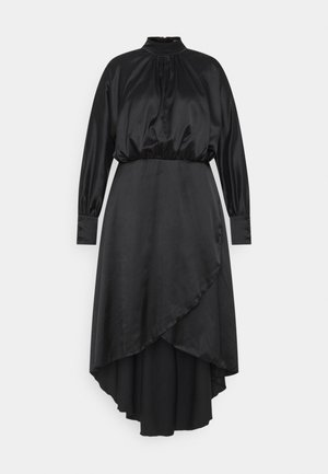 PLUS HI NECK LOW WRAP DRESS - Cocktail dress / Party dress - black