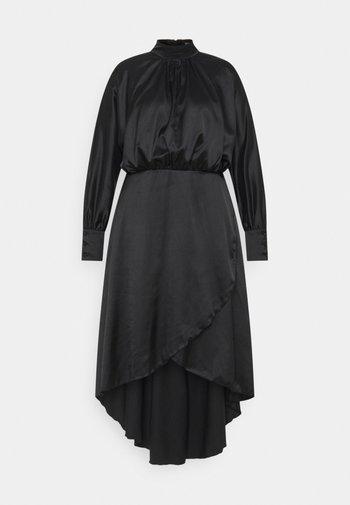 PLUS HI NECK LOW WRAP DRESS - Cocktail dress / Party dress - black