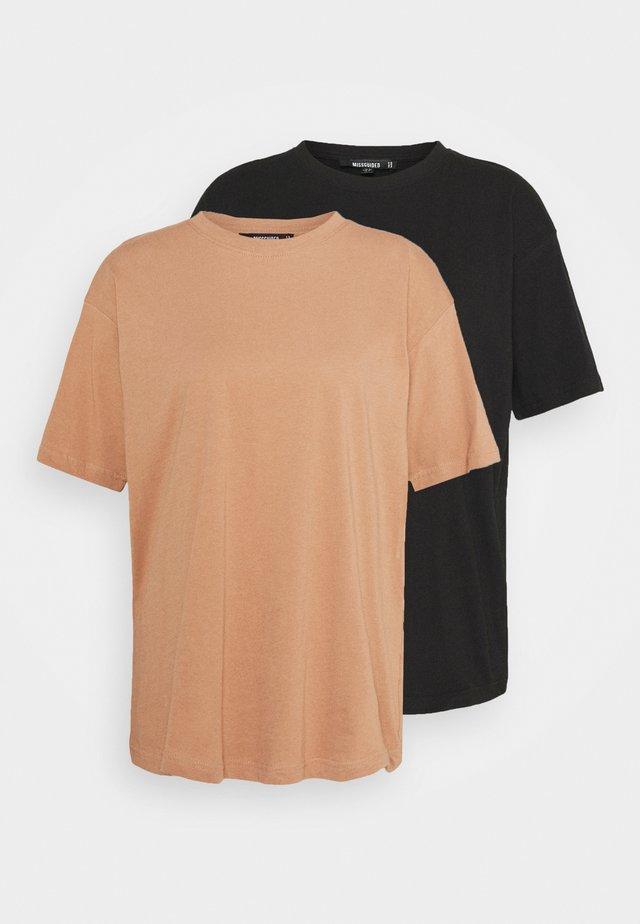 LIMEDROP SHOULDER OVERSIZED 2 PACK - T-shirts basic - black/camel