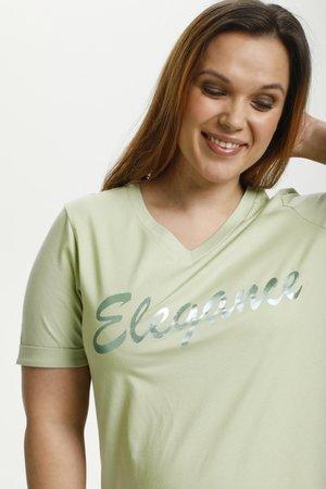 T-shirt z nadrukiem - reseda green  green foil text