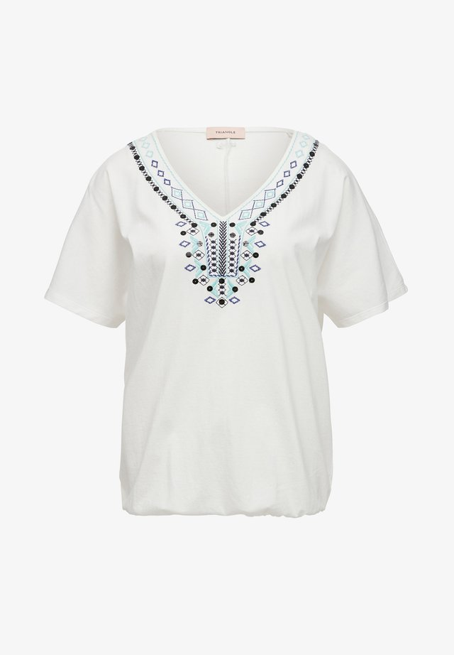T-SHIRT MIT ETHNO-STITCHING - Top - white embroidery