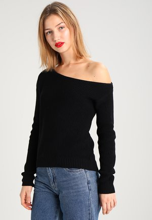BASIC-OFF SHOULDER - Strikkegenser - black