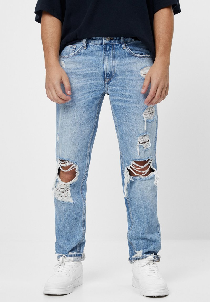 Bershka - VINTAGE  IM STRAIGHT-FIT MIT RISSEN - Džíny Straight Fit - blue denim