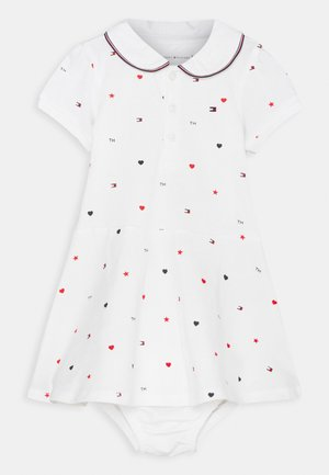 BABY FLAG POLO DRESS - Jersey dress - white