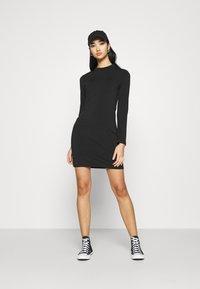 Even&Odd - Mini high neck long sleeves bodycon dress - Shift dress - black - 1