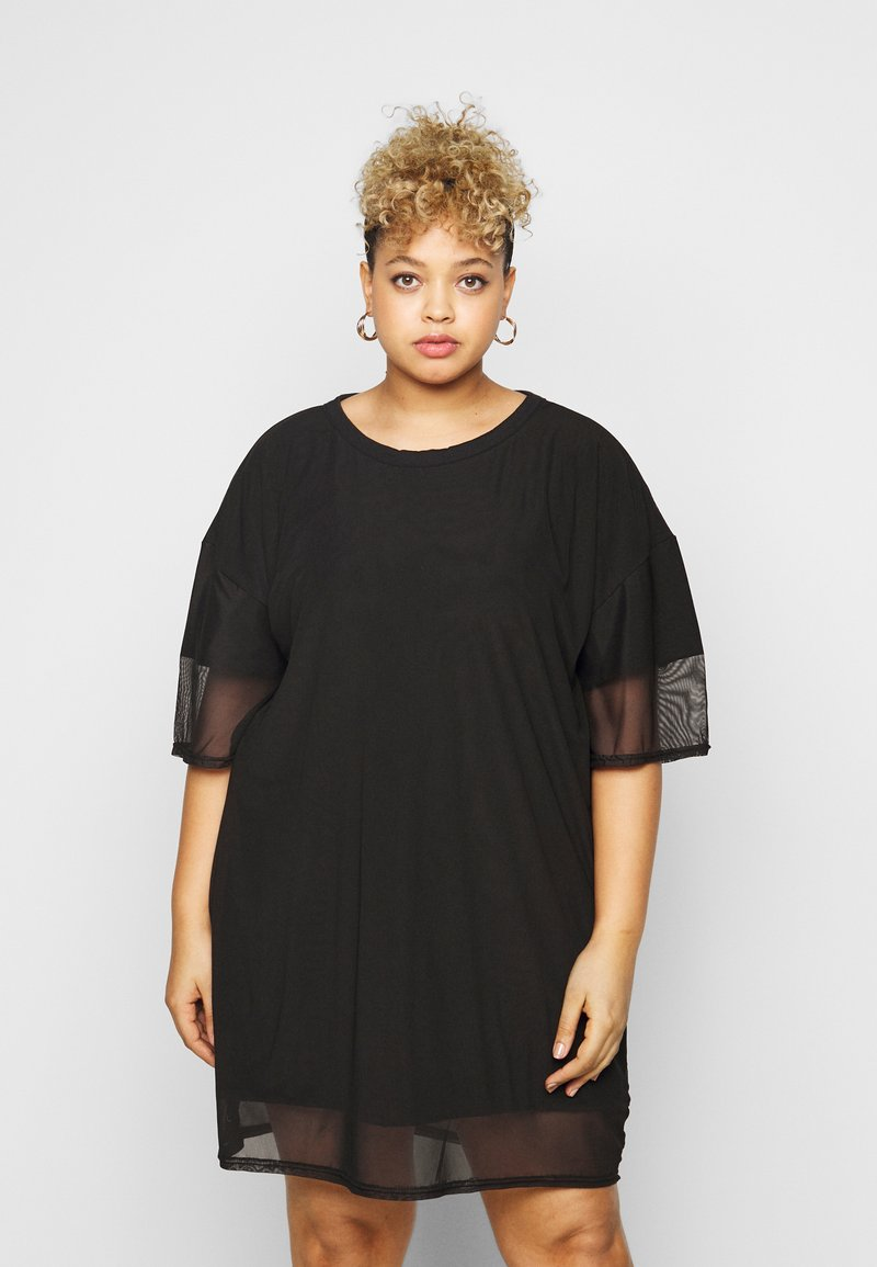 Missguided Plus - OVERLAY DRESS - Day dress - black