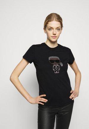 IKONIK RHINESTONE KARL - T-shirt z nadrukiem - black