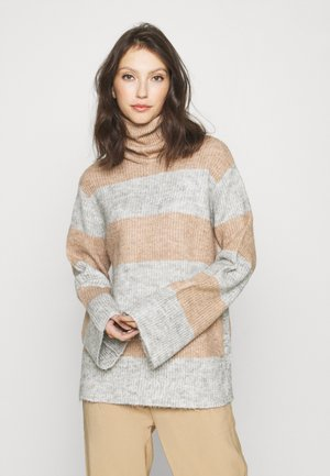 YASALLU STRIPE   - Jumper - light grey melange/tawny brown
