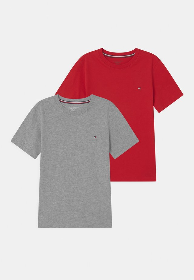 2 PACK  - Basic T-shirt - medium grey heather/primary red