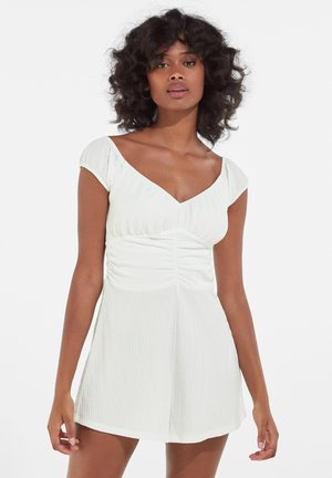 PLAIN PLAYSUIT WITH A GATHERED NECKLINE 02949187 - Jumpsuit - off white