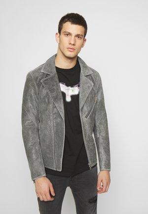 BIKER JACKET - Leather jacket - blue