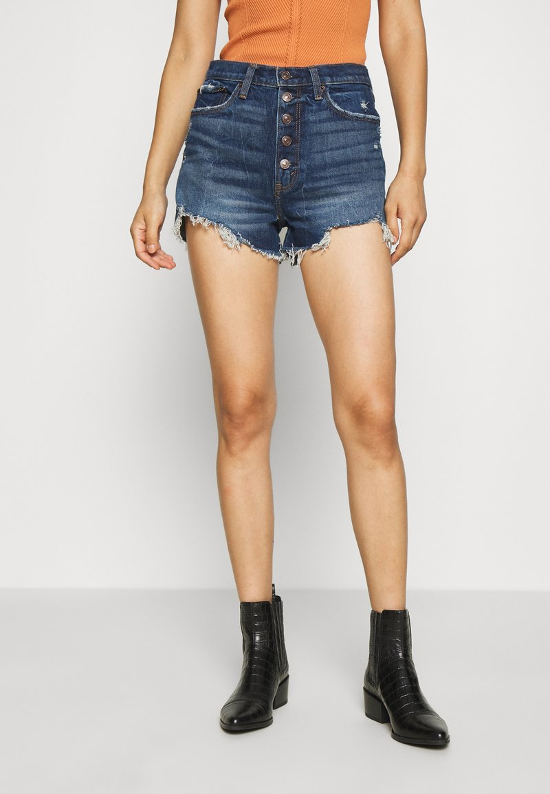 Abercrombie & Fitch - Denim shorts - dark blue denim