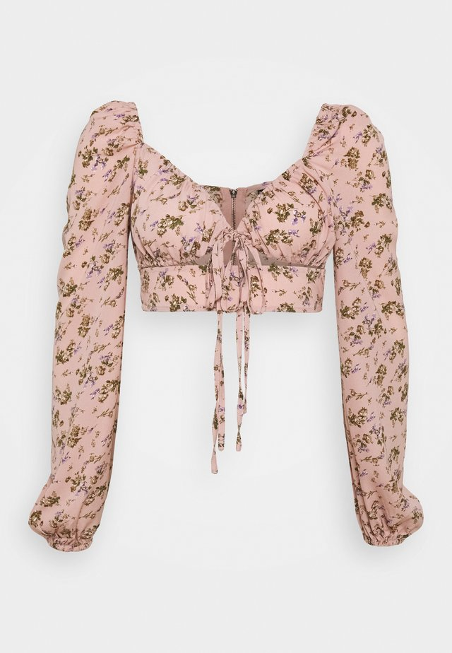 COORD CROP TIE FRONT FLORAL - Bluse - pink