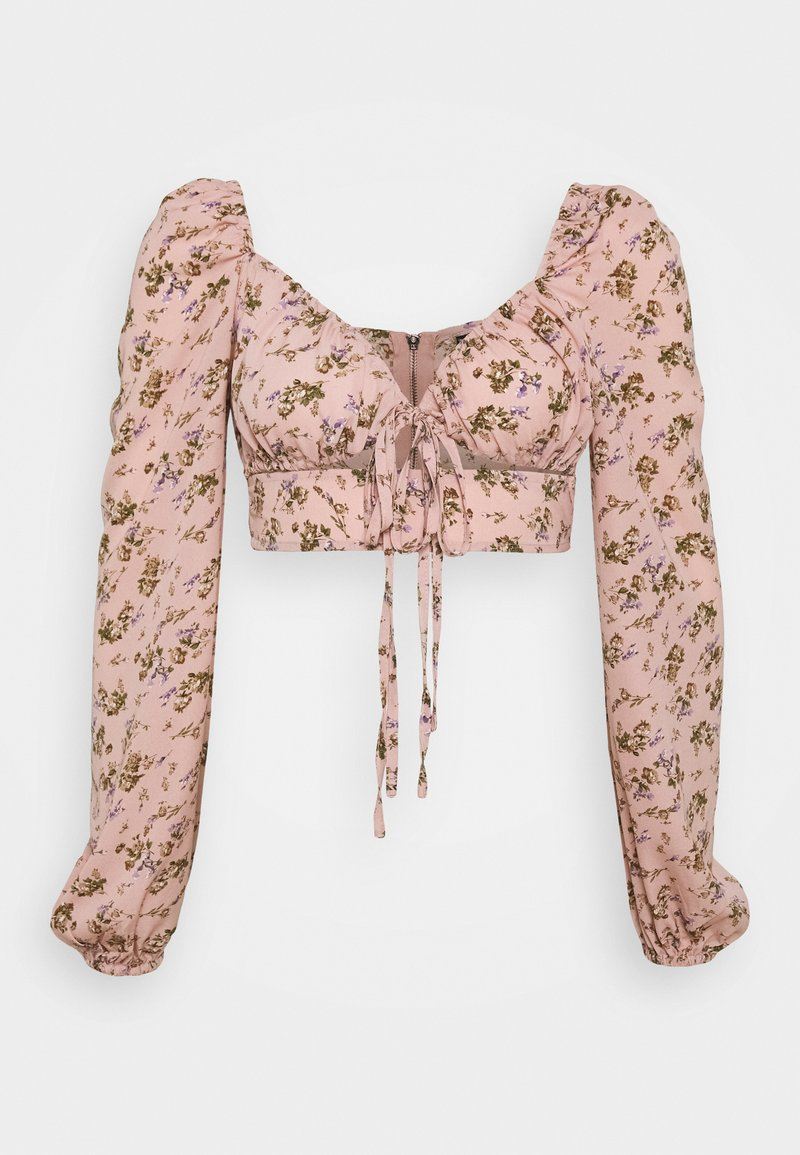 Missguided - COORD CROP TIE FRONT FLORAL - Bluser - pink