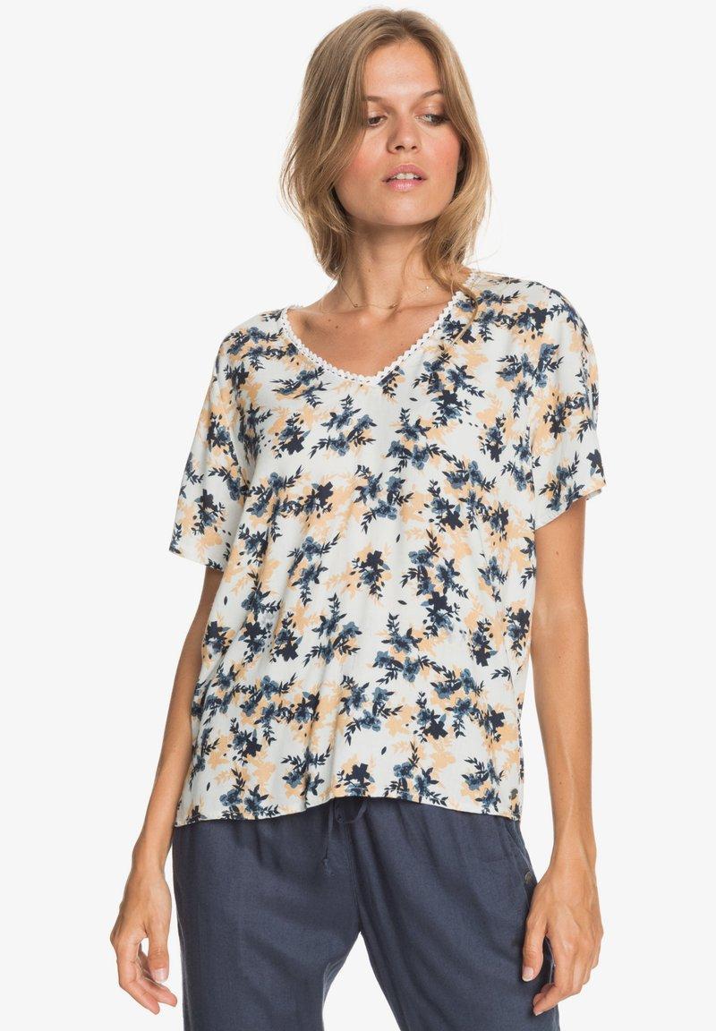 Roxy - HEY NOW - Print T-shirt - snow white aqua ditsy