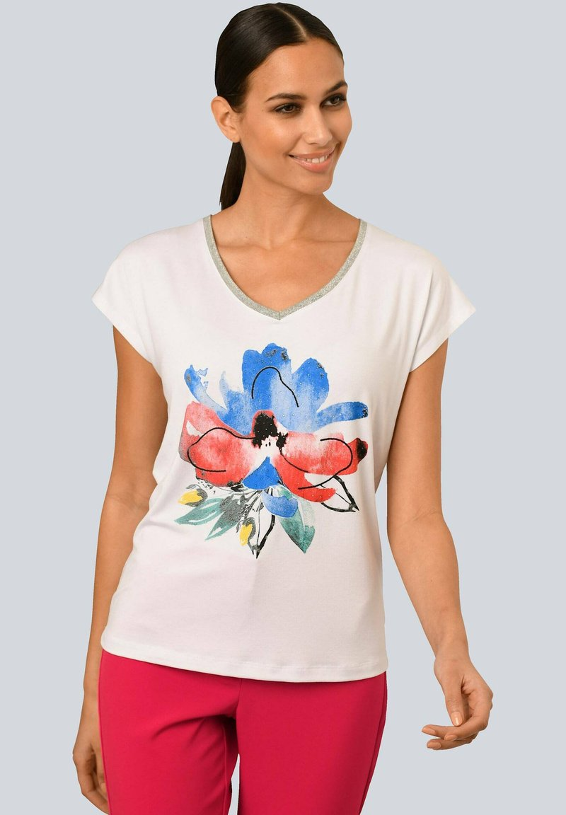 Alba Moda - Print T-shirt - weiß rot blau gelb