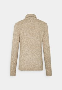 TOM TAILOR - TURTLE NECK SWEATER - Stickad tröja - white/camel - 7